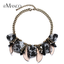 eManco acrylic petal choker necklace metal link chain short rhinestone bib statement necklaces for women bijoux femme NL13622(China)