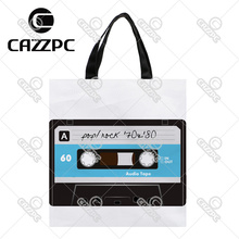 Retro Blue Pop Rock Tape Pattern High Quality Print Custom individual waterproof Nylon Fabric shopping bag gift bag Pack of 2(China)