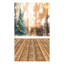 5X7FT 150X210CM Vinyl Christmas theme picture cloth photography background studio props Wooden floor snowflake light Christmas(China)