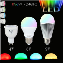 Dimmable Mi Light GU10 E27 RGB Led Bulb Lamp 4W 6W 9W MiLight 2.5G Wireless Lights 85-265V RGBWW Spot light  lampada LED Lamp