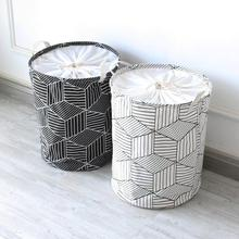 Large Geometric shapes Cloth Laundry Hamper Clothes Storage Baskets Home clothes barrel Bags kids toy storage organizer barrels(China)