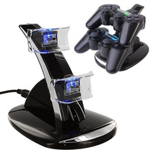 Blue Light Dual Double 2 USB Charger Charging Station Dock Stand Crystal Base For PlayStation 3 PS3 PS 3 Game Controller black(China)