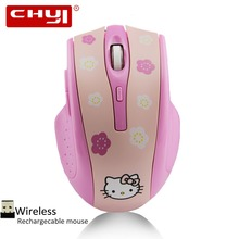 CHYI Cute Pink Hello Kitty Wireless Mouse 1600DPI USB Optical Mute Mice Rechargeable Silence Mause For Computer PC Gamer Gift(China)