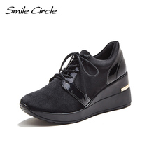 Smile Circle 2018 Spring Autumn Wedges Sneakers Women Fashion Lace-up Platform Shoes For Women High heels Casual Shoes C717B04(China)