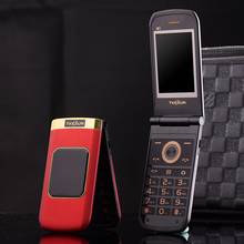 "TKEXUN M3 Flip Phone 2.4"" Double Dual Screen Dual Sim Camera MP3 MP4 Touch Screen Luxury Cell Phone"