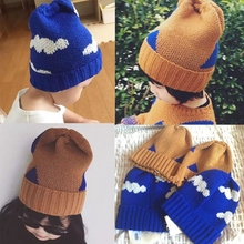 INS 2016 Baby autumn winter Crochet hat kids Boys Girl bobo choses cloud triangle pattern caps fashion Knitted Warm Cap for 1-8T