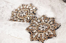 2pcs Rhinestone applique, handmade crystal applique, heavy beading applique, craft couture supplies, shoulder armor,