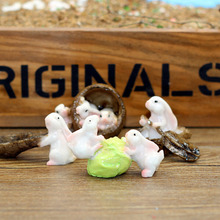 1 Pcs Mini Rabbit Animal Miniature Fairy Garden Decoration Doll House Terrarium Decor Ornament Toys 5styles