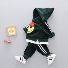 Cotton clothing sets winter cartoon thick woolen kid suit children set baby clothing boys clothing girl clothing baby clothes