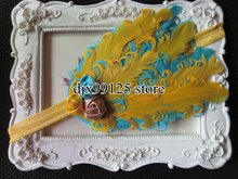 XIMA Nagorie Pad Feather Headband,Curled Feather Headband, yellow with Rose Flowers