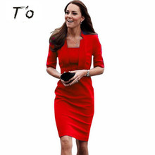 T'O Fashion Half sleeve Women Summer Autumn dress square Neck Celebrity Wear to Work Slim BodyconParty Dress 101