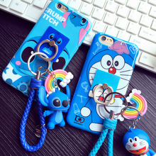 Cartoon Ring Stand Lanyard TPU Fitted Case For iPhone 6 6s plus 7 7plus case 3D Stitch Doraemon Silicon full coverage protector