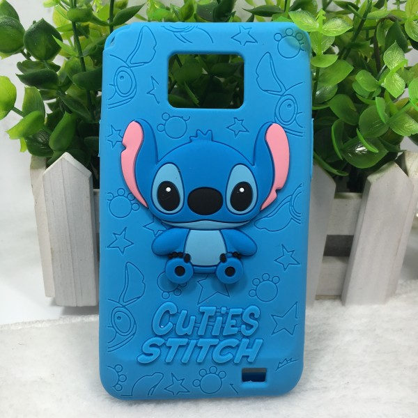 Cheapest 3D Cartoon Cuties Stitch Silicone Soft Cover Back Phone Cases For Samsung Galaxy S2 i9100(China (Mainland))