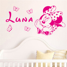 Creative Kawaii for kids rooms Minnie Mickey Mouse Butterfly custom baby names Removable wall stickers, home decoration