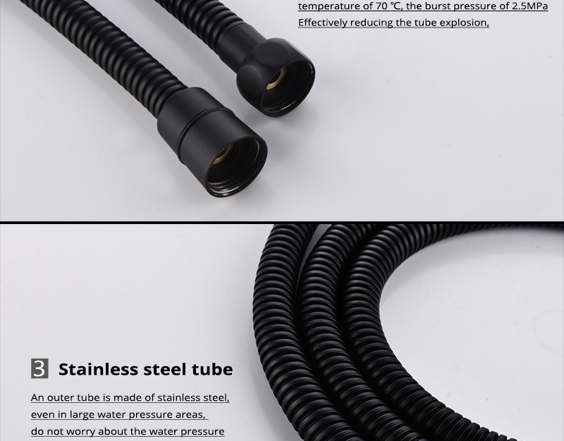 DCAN Plumbing Hoses Stainless Steel Black Shower Hose 1.5m Plumbing Hose Bath Products Bathroom Accessories Shower TubingHoses (11)