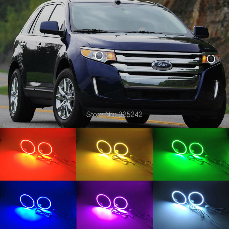 For Ford Edge 2011 2012 2013 2014 Excellent Multi-Color Ultra bright RGB LED Angel Eyes kit Halo Ring<br>