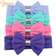 "4pcs/lot 2017 Girls Spring/Summer Hair Accessories 5"" Big Messy Knot Bow Solid Headband For Girls And Kids Headband Hairbow"
