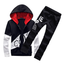 2017 brand sporting suit men warm hooded tracksuit track polo men's sweat suits set letter print large size sweatsuit 5XL sets(China)