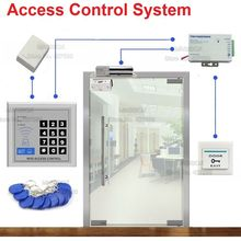 ID/EM Access Control System for Frameless Glass Door Card Reader & Keypad Electric Bolt Lock+Power Supply+Door Bell+Switch(China)