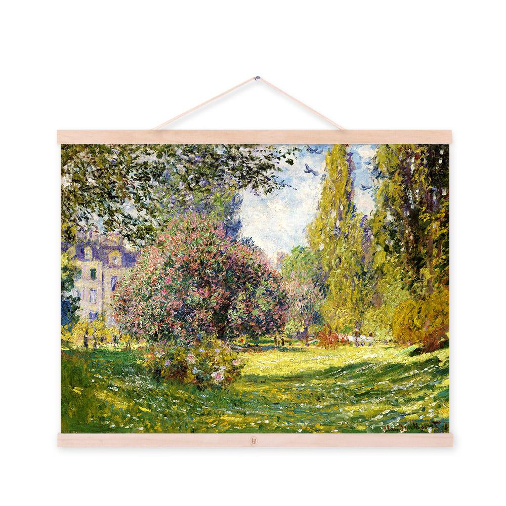 Claude Monet Green Modern Impressionist Cottage Garden Large Poster Prints Pink Flowers Canvas Oil Paintings Home Wall Art Gifts(China (Mainland))
