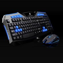 Best Price Blue 2.4GHz wireless Gaming keyboard and Mouse Set to computer Multimedia Gamer(China)