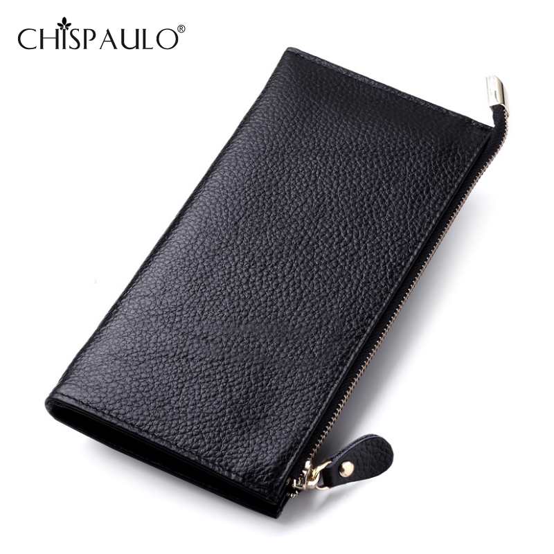 Women Genuine Leather Wallets Long Embossed Ultra-thin Wallet Lady Card&amp;ID Holder Clutch Standard Wallet For Girl carteira<br><br>Aliexpress
