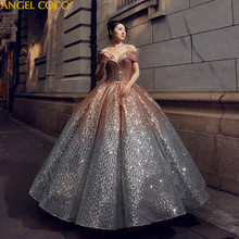 2019 New Pregnant Bride Gold And Silver Gradient Sequins Bling Bling Luxury  Robe De Mariage Pregnancy Maternity Wedding Dress f2d411de2372