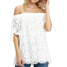 Summer Sexy Off Shoulder Women Shirts Lace Crochet T Shirts Fashion  Short Sleeve Tops