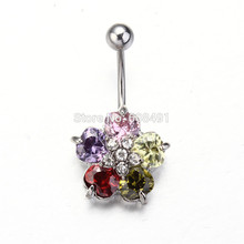 Colorful Crystals Set Flower Hinged Barbell Dangle Belly Button Ring Navel Body Jewelry 14g