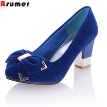Asumer fashion dress office summer pumps spike heel round toe high-heeled women shoes fashion  women pumps(China)