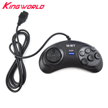 2pcs 16 bit Classic Wired Game Controller for SEGA Genesis 6 Button Gamepad for SEGA Mega Drive Game Accessories(China)