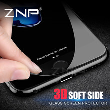 ZNP 3D Soft edge Full Screen Protector For iPhone 7 6 6s 8 Plus Tempered Glass 3D Curved cover for iPhone 8 6 7 Protector Glass(China)
