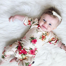 0-24M Newborn Baby Girls Floral Print Cotton Long Sleeve Summer Autumn Jumpsuit Rompers Outfits Children's Clothes