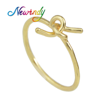 Newindy Minimalist Jewelry Punk Style Gold-Color Silver Color Finger Geometric Tie Shape Bijoux Female Midi Rings(China)