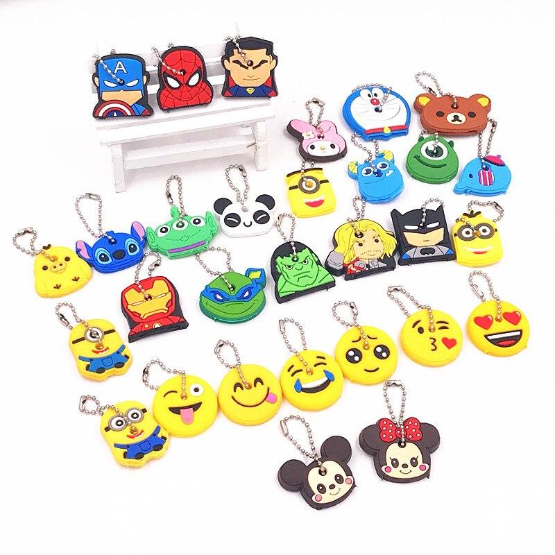 40Pcs-lot-Cute-Key-Cover-Emoji-Smile-Avenger-Batman-Amusing-Cartoon-Keychain-Fashion-Jewelry-Silicone-Key