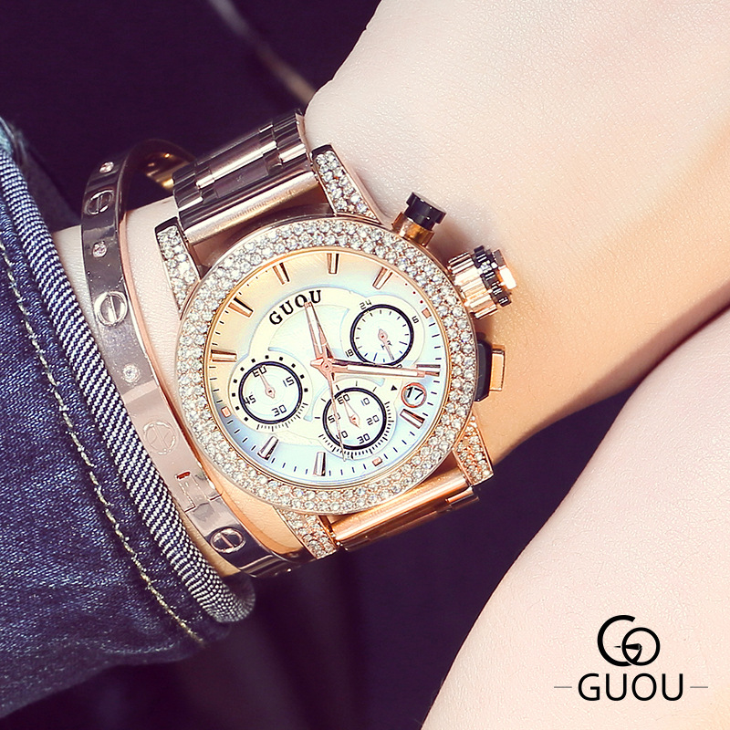 Luxury High Quality GUOU Brand Crystal Bling Rose Gold Steel Quartz Round Dial Wrist Watch Wristwatches for Women Female 8808<br>