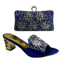 African Luxury Women High Heel Plump 7366 Blue Crystal Evening Shoes Clutch Set Matching Shoes And Bags Italy For Party