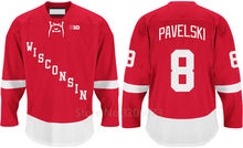 Wisconsin Badgers #8 Joe Pavelski Red College Hockey Jersey Embroidery Stitched Customize any number and name Jerseys(China)