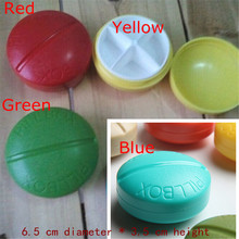 Exclusive 4 Slots Mini travel blue Round cute Pill case for Drugs splitters Medicine box