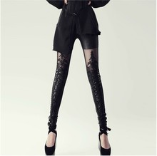 Fashion New 2015 Punk Sexy PU Leather Stitching Embroidery Bundled Hollow Lace Black Leggings for Women Hot(China)