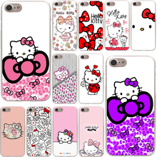 Fashionable Hello Kitty Hard Phone Cover Case Transparent for Apple iPhone 7 7 Plus 6 6s Plus 5 5S SE 5C 4 4S Coque Shell