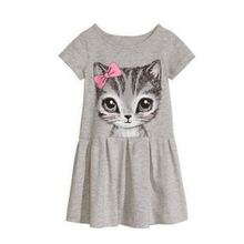 Hot Sale Spring Summer Girl Dress Cute Cat Print Grey Child Girl Dress Cotton Short Sleeved Girl Clothing Casual Children Dress