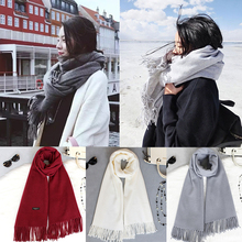 Sale Fashion Women Men Winter Warm Scarves Cashmere Blend Solid Tassel Knitting 200cm Long scarf(China)