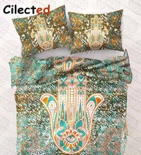 Cilected Printed Hamsa Pineapple Bedding Sets Mandala Bergamot Bed Cover Bed Spread Quilt Cover Pillow Cover 3pc Duvet Cover Set