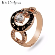 K's Gadgets Brand Jewelry Roman Numerals Rings For Women Fashion Drip Oil Crystal Cubic Zirconia Party Ring Bagues Femme(China)