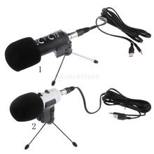 PC Computer Studio Table Desktop USB Condenser Microphone with Stand Voice Recording Online Chatting Accessory