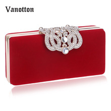 2017 Spring Women Red Beaded Evening Bags Day Clutches Bag Decorated with Sequins Small Shoulder Bags Women Messenger Bag(China)