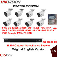 Hikvision Original English Outdoor CCTV System 8pcs DS-2CD2055FWD-I 5MP H.265 IP Bullet Camera POE+4K H.265 NVR DS-7608NI-I2/8P(China)