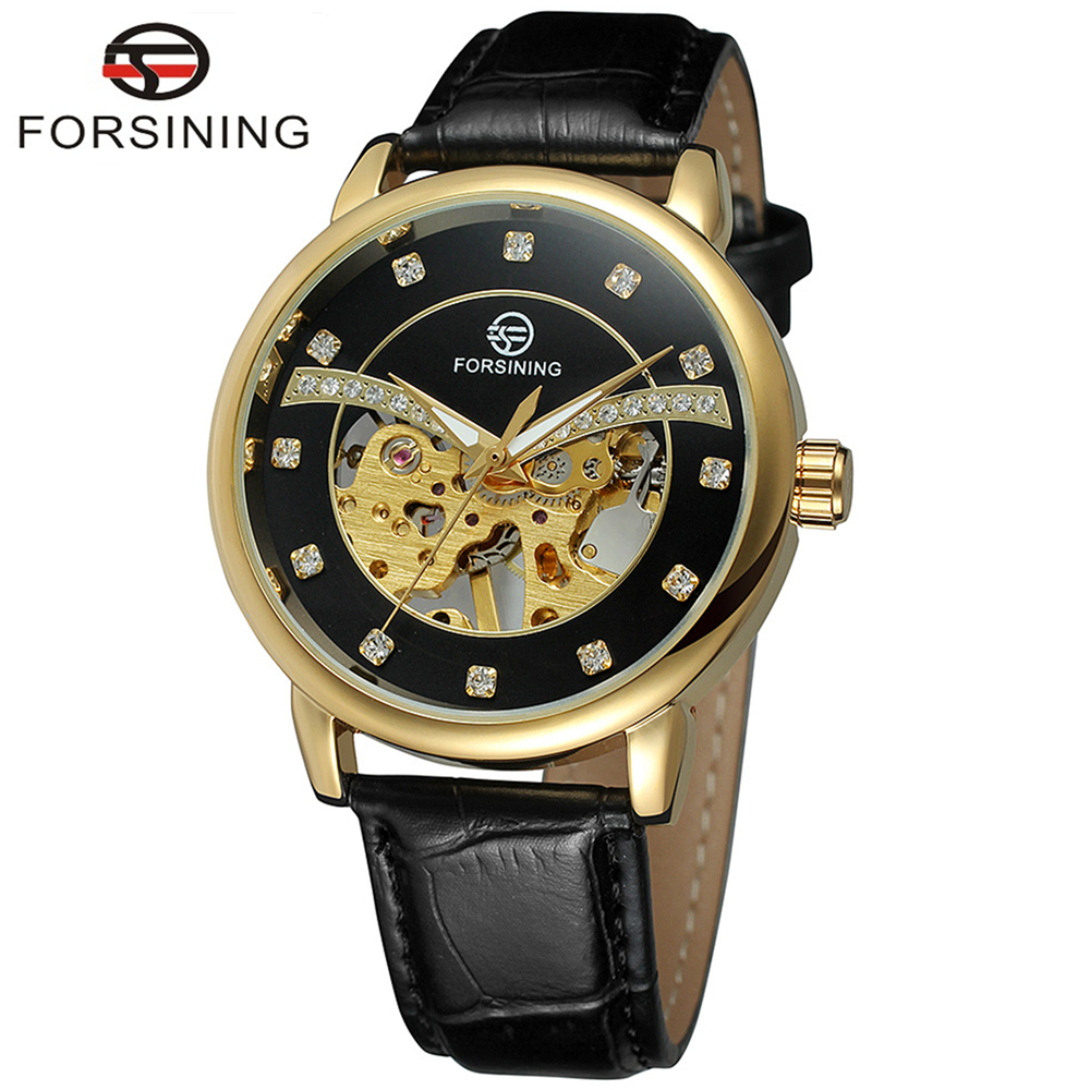 FORSINING Brand Men Leather Band Hand Wind Mechanical Watch Skeleton Slim Fashion Wristwatch Relogio Releges Montre Homme<br>