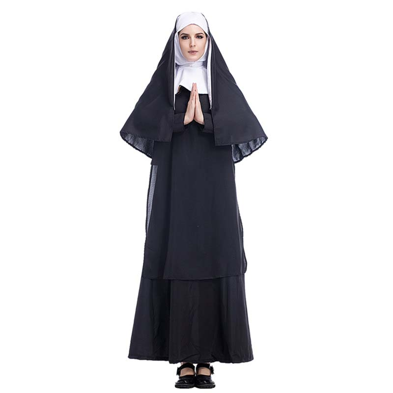The Nun Costume Cosplay Adult Long Black Scary Nuns Ghost Clothes Uniform Horror Halloween Party Costume DropShipping2